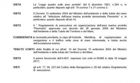 ORDINANZA NUMERO 57/2017 – OBBLIGO COMUNICAZIONE PREVENTIVA ATTIVITA' DI PESCA UNITA' GIA AUTORIZZATE IN AMP PLEMMIRIO