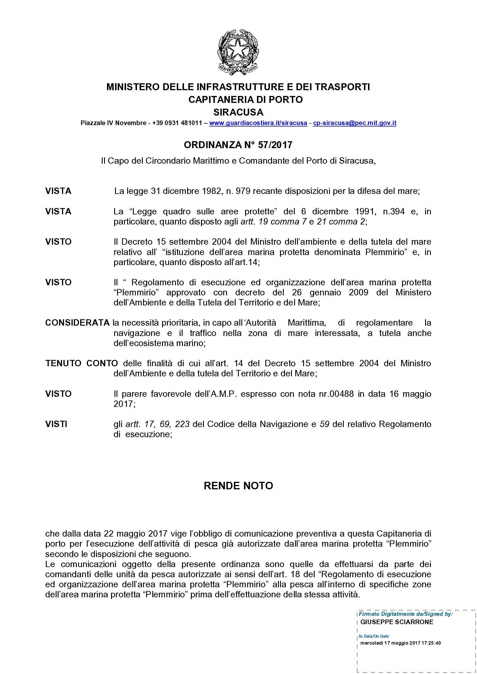 Ordinanza pesca in AMP_PLEMMIRIO nr 57_2017_1
