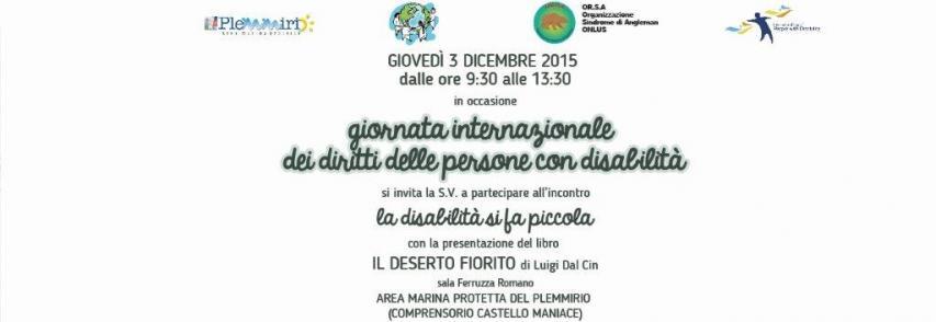"""Giornata internazionale dei diritti delle persone con disabilità – il 3 dicembre incontro con l'autore de """"Il deserto fiorito"""""""